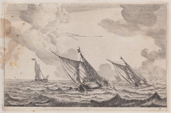 Three Sailing Vessels at Choppy Sea