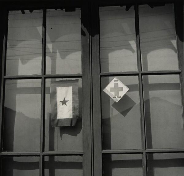 Star in window with Red Cross War Fund sticker, Richmond, California