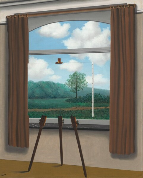 An interior window framed by brown curtains shows a view into a landscape with grass, shrubs, trees, and a dirt path beneath a blue sky with white clouds in this vertical painting. Upon closer inspection, the three legs of a wooden easel, the clip holding a canvas at the top, and a white, stapled edge draws our attention to the fact that a painted canvas rests directly in front of the window, presumably replicating the view beyond.