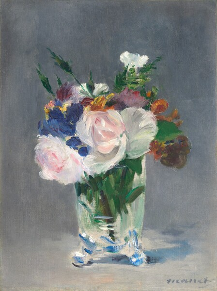 """A bouquet of cut flowers in a clear glass vase nearly fills this vertical painting. The vase has straight sides and the rounded bottom is supported by short, round feet. Some of the flowers can be identified as white roses and carnations but other less defined flowers are executed in quick touches of delphinium blue, marigold orange, brick red, and butter yellow. Green stalks and leaves are interspersed throughout, and green stems fill the vase. Some of the flowers and vegetation are thickly painted, and these contrast with other areas where the paint is more thinly applied. The bouquet is set against a pale gray background, and the vase casts a subtle blue shadow to our right. The artist signed the painting in gray letters at the lower right: """"Manet."""""""