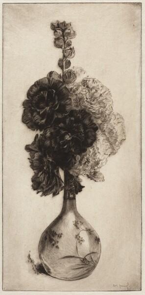 Hollyhocks in a Long-necked Vase