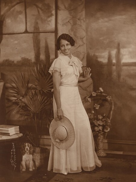 Lady with Wide-Brimmed Straw Hat