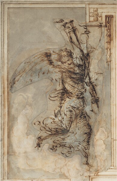 A winged person wearing a long billowing robe and holding a torch balances or lands on their left foot, on our right, in this vertical drawing. Created with dark brown ink against cream-colored paper, the person is sketchily drawn so some of the details are indistinct. The right foot, on our left, is raised behind the angel, who looks down in that direction, and is balanced by the outstretched wing above. The background behind the angel is filled with white clouds against a pale slate-blue sky. The edge of a column and base lines the right edge of the paper.