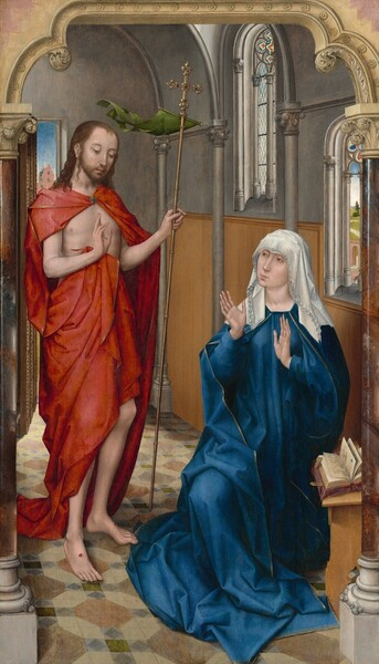 A woman wearing a cobalt-blue robe and a white veil sits with her hands raised, palms out as she looks toward a slender, bearded man who stands to our left in this vertical painting. Both have light skin and delicate features, and they sit in a room with stone walls and arched windows. There are faint circles under the woman's light brown eyes. She has a long slender nose, and her pink lips are pursed. One knee is bent and she is low to the ground, suggesting that she sits on a stool. A book lies open on a wooden stand in front of her to our right, below her left elbow. The ruffled edges of her multi-layered, white veil sweep over her forehead and down to her shoulders. Her loose, long-sleeved blue garment is edged with gold and falls in angular folds to pool at her feet. She holds her long-fingered, slender hands up at her chest, palms facing the man to our left. He stands with his body angled toward her as he looks down, his head tipped slightly forward. His brown hair falls over his shoulders. His voluminous, gold-edged, cardinal-red cloak is fastened at his throat with a gold, jeweled brooch, and it drapes over his shoulders and around his lower torso, leaving his arms, chest, and a gash over his right ribs exposed. He holds a tall, gold staff topped with a jeweled cross in his left hand, to our right. A moss-green pennant flutters back from the base of the cross, as if lifted in a breeze. The man holds up his other hand so the palm faces the woman with the first two fingers raised. Round, puncture wounds with red blood mark the palm of that hand and tops of both bare feet. The floor is patterned with putty-gray, gingerbread brown, steel blue, and fern green tiles. The wall behind the woman has honey-brown paneling along the bottom half and the top half is slate gray. Gray columns are spaced along that wall, supporting a curving, vaulted ceiling. Two arched windows pierce the wall behind the woman, and both have stained glass designs within the curving tops. The