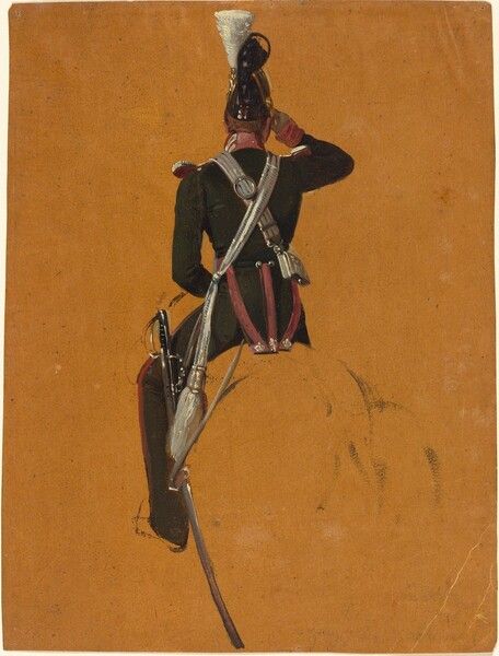 A Mounted Cavalry Officer Seen from Behind