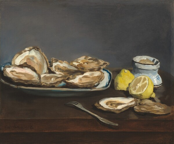 A plate of oysters, a halved lemon, an oyster fork and shells, and a dish of salt are arranged on a wooden tabletop in front of a gray wall in this horizontal still life painting. The front edge of the table seems close to us, and the objects span the width of this composition. Six oysters are crowded on the oval plate, which is white and edged with royal blue. The narrow tines of the oyster fork are angled towards the plate as the handle, which is shaped like the blade of a butter knife, angles to our right and seems to jut into our space. The two empty shells are next to the knife in front of the lemon, which has been cut in half through its girth. One cut edge faces our left and the other half rests with its cut edge down on the table. The bowl with salt mounded within is about the same size as the lemon and has a border of brown at the top and near the foot. The entire painting is loosely painted with visible brushstrokes, and some vague lines on the side of the bowl suggest a Japanese or Chinese character.