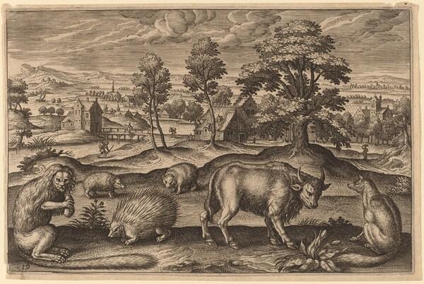 A Monkey, a Porcupine, Two Hedgehogs, a Buffalo and a Fox