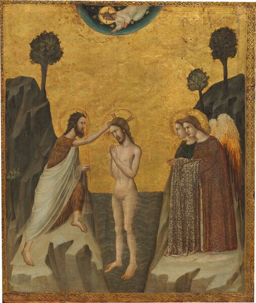 A nude man, Jesus, stands with hands together in prayer, hip-deep in a stylized river with a bearded man wearing a fur-like garment touching Jesus's head from a rocky bank to our left and two winged angels, also on a rocky bank, against a gleaming gold background in this vertical painting. Another bearded man wearing a white robe floats in a blue field at the top center of the panel. All the people have pale skin, brown hair, and gold halos encircle their heads. Jesus's body is angled to our left and he tips his head the same direction, towards the man touching his head. Jesus has shoulder-length hair and a trimmed beard. Slate-blue water reaching his hips is painted with regular, white, curving lines to suggest flowing water. Standing on the flat top of a tan-colored rock to our left, the other man head has raggedy, darker brown hair and a fuller beard. His brow is furrowed and he has dark eyes. He wears the brown, fur-like garment under an ivory-white robe. He steps forward on his left foot, farther from us, to touch Jesus's head with his right hand, and he holds a staff in his opposite hand. To our right, the angels stand side-by-side facing Jesus. The angel farther from us wears indigo blue and the one closer to us wears a brick-red, patterned, long robe over bare feet. A swath of beige, patterned fabric drapes over that angel's arm, whose hands are also held together in prayer. Their wings darken from cream-white at the top to butter and gold yellow, then burnt-orange at the bottom. Stylized trees, one to our left and two to our right, grow from the rocky hills beyond the people. In a half-circle at the top, a man smaller in scale hovers, chest down, over the scene. He lifts his right hand towards Jesus and holds a book with a crimson-red cover with his other hand. The semi-circle fades from deep teal at the top to pale aquamarine at the edge, and is painted with gold starbursts. The entire scene has a gold border with clover-like forms set within diamonds.