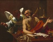 Seen from the waist up, an elderly, balding, light-skinned man with a bushy white beard sits behind a table facing us in front of a winged angel who looks on with arms spread wide in this shadowy, horizontal painting. The man sits angled slightly to our right and turns his head to look in the opposite direction with eyes sunk in shadow under deeply furrowed brows set in his lined face. His sparse, gray and white hair is tousled. He wears only a scarlet-red cloth draped across his lap and over his sinewy left arm, on our right. His open left hand is raised, palm up, at shoulder height. In his other hand, he holds a pen, paused in the act of writing on a scroll. His forearm rests on an open book beneath the scroll. He looks over his right shoulder at the curly-haired angel with snow-white wings. The angel wears a flowing, light blue robe with a golden-yellow cloth draped around his chest and over his shoulders. He leans toward the man with a soft smile, although his face is in shadow. With arms lifted, he gestures with his right hand with a slightly crooked finger, pointing beyond the picture's border. In his other hand, the angel holds a golden horn in the dusky background behind the man's left shoulder. Behind the man and angel and to our right, a single candle sits on two books laying in an arched wall niche. On the desk closest to us are a crumpled cloth on a book, a shiny rust-brown ball, a pair of eyeglasses, an inkpot, an hourglass, and a second book, to our right. Light coming from our upper left starkly illuminates the two people against the shadowed, chocolate-brown background.