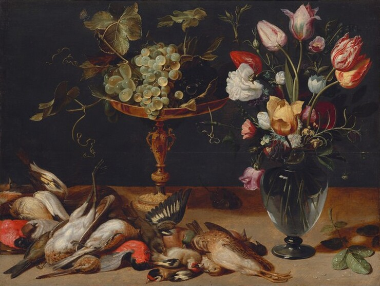 Frans Snyders, Still Life with Flowers, Grapes, and Small Game Birds, c. 1615c. 1615