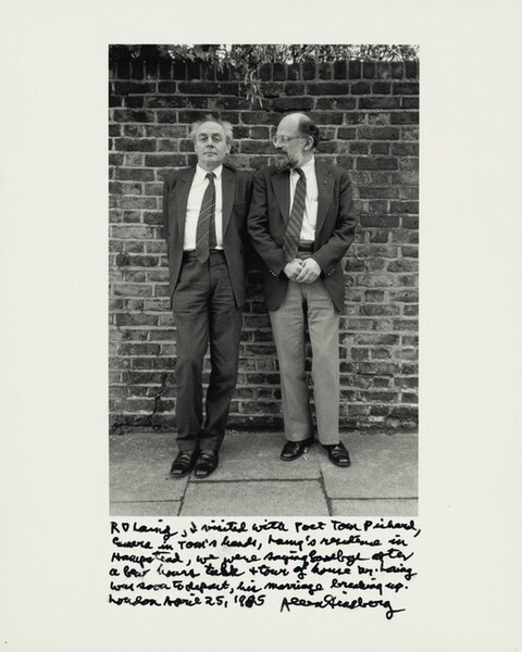 RD Laing, I visited with Poet Tom Pickard, camera in Tom's hands, Laing's residence in Hampstead, we were saying goodbye after a four hour talk & tour of house Dr. Laing was soon to depart, his marriage breaking up. London April 25, 1985