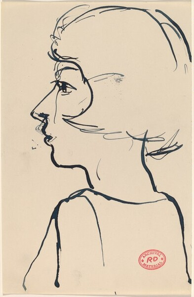 Untitled [young woman in profile, facing left]