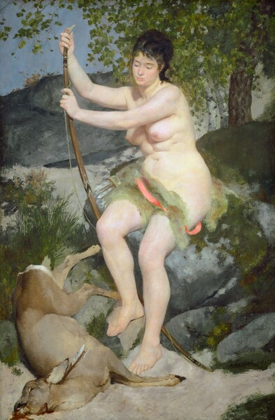 A pale, nearly nude woman with dark hair sits on a mossy rock, holding an archery bow, with a dead deer at her feet in this vertical painting. Her body is angled to our left and she looks down toward the animal with dark eyes. Her hair is pulled up and her pale pink lips are closed. She is covered only by a light, celery-green cloth and rose-pink ribbon across her hips. She has full, round breasts and curving belly, hips, and thighs. The deer's legs face the woman as it lays on the ground, but its head is pulled back at a dramatic angle into the lower left corner, seeping blood from the mouth and from a slash across its neck. A quiver of arrows lies to the woman's right, farther from us, on the moss-covered rock on which she is seated. More boulders behind her create the impression of hills, nearly filling the composition. Trees grow up against a corner of pale blue sky above.