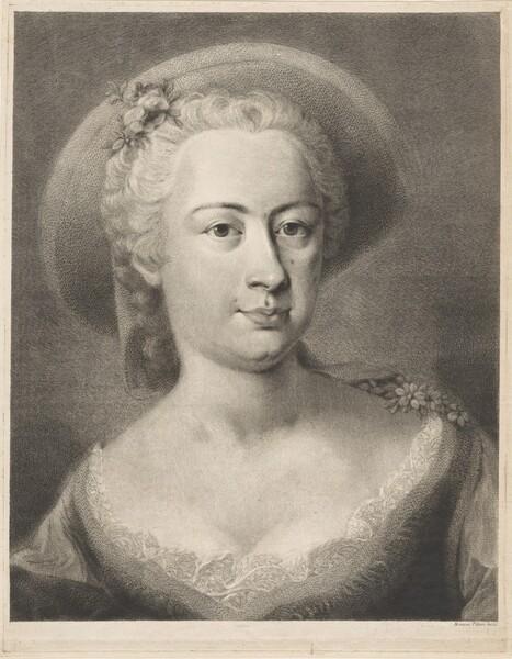 A  Woman Wearing a Straw Hat [Madame de Pompadour?]