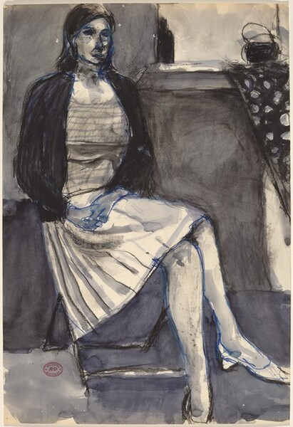 Untitled [seated woman in pleated skirt]