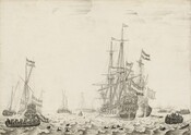 """Created with fine black lines of paint and ink against a white background on this horizontal wood panel, this seascape showing several large ships and dozens of rowboats looks like a black and white print at first glance. The horizon line where the choppy water meets the nearly cloudless sky comes about a quarter of the way up the composition. The ship closest to us is angled into the distance to the right of center, and its masts reach three-quarters of the way up the panel. Another large ship has nearly pulled alongside it to our right, and a third ship appears near the left edge. Canons poke out of open flaps along the sides of the ships and most of the sails are furled. More than a dozen smaller masted ships and rowboats are spaced around and behind these larger vessels, extending into the deep distance. Flags and pennants with three horizontal stripes hang from many of the large and smaller ships. Closest to us, dark dolphin fins cut through rippling waves and a few rounded jugs float in the water. People stand along a shoreline in the distance to our right, where two horse-drawn carriages wade between the beach and rowboats. The artist's name, """"W.V. Velde,"""" seems inscribed on a wooden panel floating in the water near the lower right corner."""