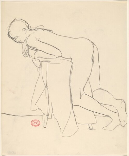 Untitled [female nude leaning over a draped stool]