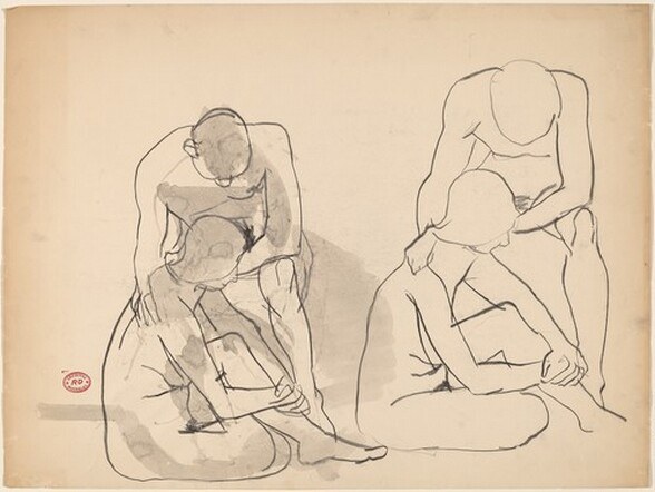Untitled [two studies of a nude couple]