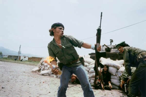Molotov Man at the walls of the National Guard Headquarters, Estelí, Nicaragua, July 16, 1979