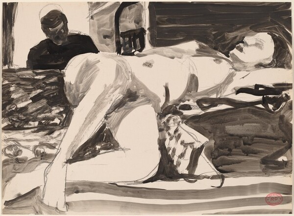 Untitled [reclining female nude with figure in doorway]
