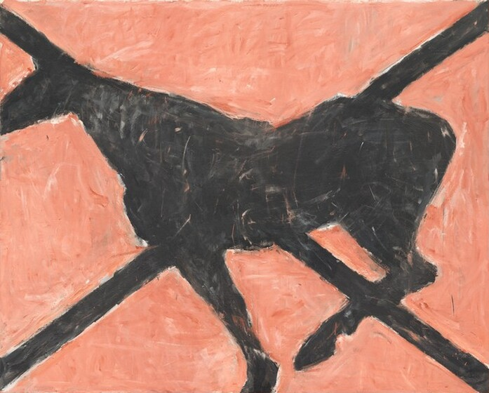 A black silhouette of what appears to be a horse is centrally placed against a salmon pink background in this horizontal painting. Facing our left in profile, the horse's nose is cropped by the boundary of the painting. One rear leg is bent, and one front leg is straight. The other two legs, the tail, and mane are not represented. Two black diagonal perpendicular lines cross the painting, beginning and ending in the four corners to create an X. The lines converge with the silhouette of the horse. Irregular brush strokes are visible throughout, creating a unifying texture.