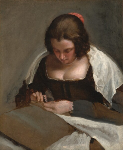 Shown from the waist up, a woman with pale skin and brown hair, wearing a dark corset and white fabric over her shoulders, looks down at needlework in her hands in this vertical portrait painting. Her cheeks are rosy and her dark hair is pulled back, though it seems looser down the sides of her face. A small, coral-red, crescent shape at the back of her head could be covering her hair or holding it in place. White, nearly translucent fabric lies loosely across her shoulders over a dark, moss-brown, long-sleeved dress. Her breasts swell over the squared, lace-trimmed neckline. She holds white fabric and perhaps a needle in her hands, which rest on a tan cushion on her lap. The scene is loosely painted throughout so some of the details are difficult to make out. A darker spot along her right index finger could be a thimble. The background is the same olive-tan of the cushion.