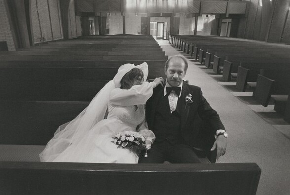 Police officer and bride at their wedding, Long Island, New York