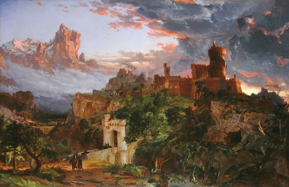 A turreted, sprawling stone castle, bronzed by the setting sun, crowns a rocky cliff at the center of this horizontal landscape painting. A round turret rises in the center of the castle's jumble of blocky, square buildings, dramatically outlined against a mass of roiling charcoal-grey and indigo-blue clouds edged in coral-peach in the upper right corner. Barely noticeable amid the hulking structure, a scarlet-red flag flutters from a window in the tower overlooking a distant crag to our right, where a column of amber smoke rises to mingle with the clouds above a bright band of sunlight on the horizon. A jumble of low trees and bushes cluster at the base of the battlements, with their crenellated roofs and lighted windows, and lead down the steep slope towards us to a river below the cliff. Through the tangle of trees, a dirt road winds down the hill to a bridge of pale stone that crosses the river in front of us, to our left of center. Groups of helmeted horsemen cross the bridge, passing under a stone archway at its center. Near the bridge, tiny in scale, a herd of goats capers on the road around the horsemen as they ride on in a double column coming towards us along the clay-colored road. One rider carries a red pennant fluttering in the breeze. The riders wear ruby-red tunics and carry upright lances and shields. Light glints off their armor and helmets as they head to our right, toward the dark mass of tangled trees and rocky cliff on the border of the picture. A copse of low, gnarled trees grows near the opposite edge of the painting, to our left. Behind these trees and riders stretches a river valley spanned by another massive, stone bridge. A cluster of people can barely be seen near and along the bridge in the distance. Beyond, buildings and a tall, square tower are lit by fires belching clouds of smoke. A heavy bank of grey fog clouds obscures the rest of the valley. Birds soar in the mist near a distant cliff, where flames and more smoke rises behind a ro