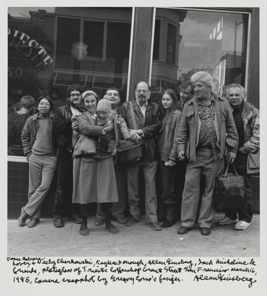 Jesse Cabrera Lover & Neeli Cherkovski, Kaye MacDonough, Allen Ginsberg, Jack Micheline & friends, plateglass of Trieste Coffeeshop Grant Street San Francisco March 16, 1985, Camera snapshot by Gregory Corso