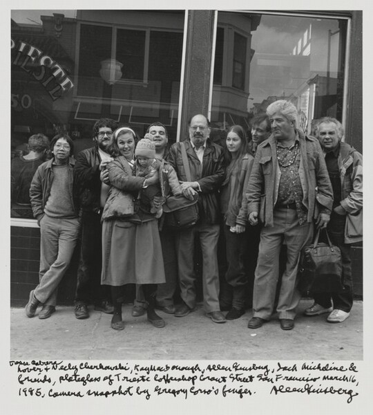 Jesse Cabrera Lover & Neeli Cherkovski, Kaye MacDonough, Allen Ginsberg, Jack Micheline & friends, plateglass of Trieste Coffeeshop Grant Street San Francisco March 16, 1985, Camera snapshot by Gregory Corso