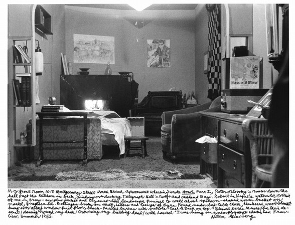 My front room 1010 Montgomery Street North Beach apartment wherein I wrote Howl Part I, Peter Orlovsky