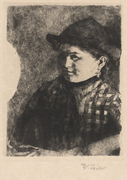 Bust of a Young Peasant Girl in a Plaid Jacket