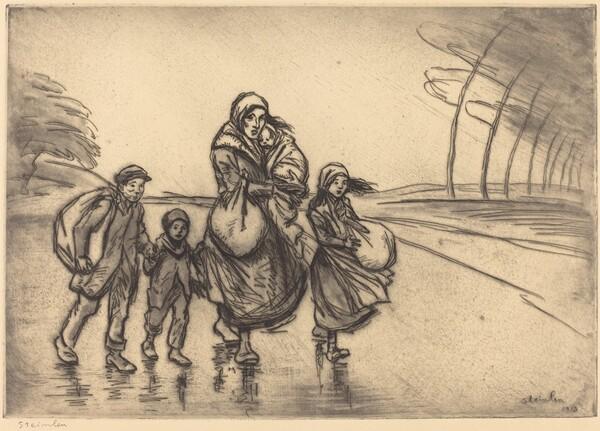 In the Rain: Mother and Children (Sous la pluie: La mere et les enfants)