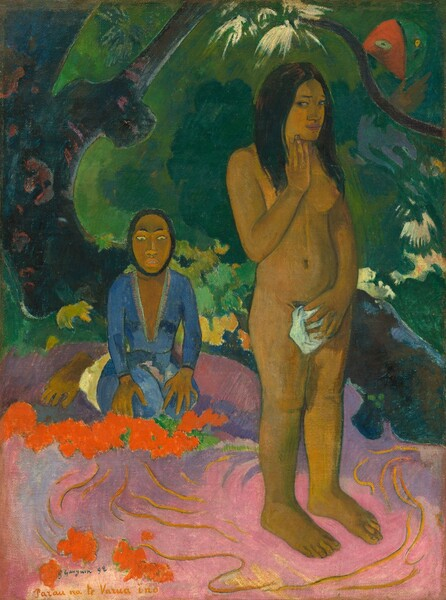 A dark-skinned, nude woman with long black hair stands to our right in a fantastical tropical landscape in this vertically oriented painting. She touches her chin with the fingertips of her right hand while her left hand holds a white cloth over her groin. She stands on bright pink sand with yellow swirls. A person wearing a blue robe sits on a field of purple, perhaps more sand, in the background to our left. That person's oval face is rimmed with black, perhaps denoting that this is a mask. A craggy tree trunk curves up and across the background and a red and green faced serpent floats near the upper right corner.