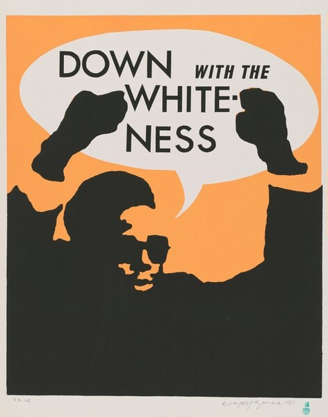 """Like a stencil, the black silhouette of a man with arms raised is printed against a pale orange background with a white speech bubble overhead. Seen from the chest up, the bearded man wears sunglasses and stands with both fists raised, his chest and arms along the bottom edge of the composition. The all-capital, black text in the speech bubble reads, """"DOWN WITH THE WHITENESS."""" The paper has a white margin all around in the artist signed and dated the work with graphite in the lower right corner: """"Rupert García 1969."""" And in the lower left, also in graphite: """"ED 105."""""""