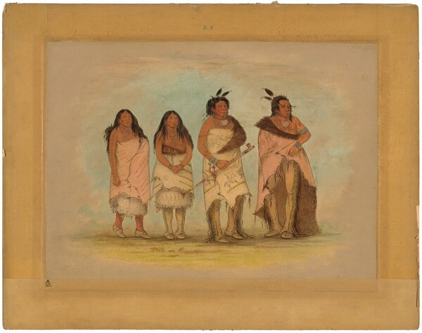 Pawneepict Chief, Two Daughters, and a Warrior