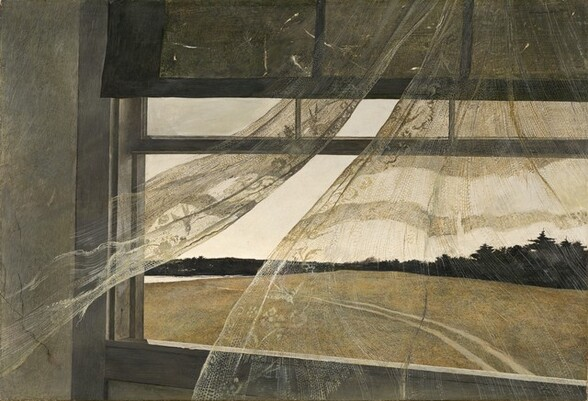 A landscape seen through an open window and a sheer lace curtain that billows towards us nearly fill this horizontal painting. The window is angled slightly downwards and towards us as it extends off the right side of the composition, so it does not line up with the edges of the rectangular painting. The narrow strip of dove-gray wall to the left of the window casement is cracked near the simple, deep gray molding that surrounds the window. Slivers of light peek through rips in the dark shade that covers upper third of the window. The right curtain panel surges towards us as the left panel flutters lightly off to our side. The inner edges are trimmed with subtle lace birds and flowers. The window looks down onto an expanse of olive green grass and dark green trees line the far edge of the field. Tire tracks cross the field from near the lower left corner of the painting to our left, and into the distance to meet a sliver of white, perhaps a body of water.