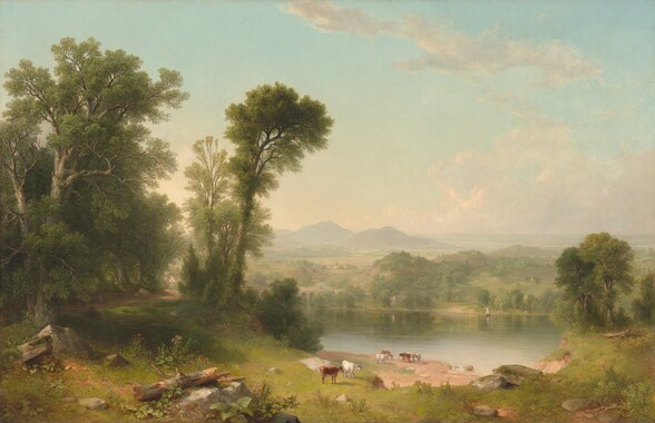 """We look sightly down onto a misty landscape with a grove of tall trees to our left next to a crystal-blue body of water, set into a verdant, green meadow before a deep view of distant, slate-blue mountains beneath an ice-blue sky in this horizontal landscape. A few slate-gray boulders and fallen tree trunks line the view along the bottom edge of the composition. To our left, tall, moss-green, leafy trees rise nearly the height of the canvas, shading a winding, dirt path that leads to building with white walls and a gray roof in the distance. A tower standing next to the structure suggests this could be a church. The land slopes gently to the water, perhaps a river, where five brown and white cows gather near the sand-colored shoreline at the lower center of the composition. Another pair of cows, one white and one chestnut brown, stand closer to us. The placid surface of the water reflects the pale blue of the sky and the soft green of the tree-covered hill across the river. The river winds under an arched bridge, into the distance to our left. Miniscule buildings and pointed spires dot the landscape that becomes hazy in the distance. The horizon comes about a third of the way up the canvas, and a few wispy, grayish clouds float across the light blue sky. The brushstrokes are blended and the palette dominated by earthy greens, browns, and watery blue, giving the landscape a soft appearance. The artist signed and dated the painting as if he had written his name on a rock near the lower left corner: """"ABDurand 1861."""""""