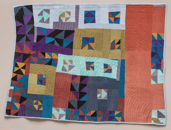 Untitled (framed half-squares four patch)