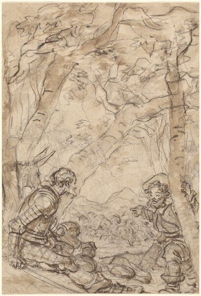 Don Quixote and Sancho Panza Witness the Attack on Rocinante