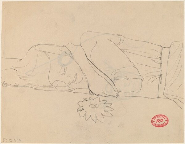 Untitled [woman sleeping on a floral spread] [recto]