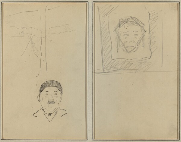 Landscape and Head of Man; Head of Monkey Inside a Square [recto]
