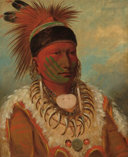 This vertical portrait shows the head, shoulders, and chest of a man with brown skin whose face is mostly painted with red and green. His body and face are angled to our right and he looks into the distance with dark eyes. Crimson red paint covers his forehead, the sides of his cheeks, and neck. Four parallel lines of green angle up his right cheek, on our left, like the four fingers of a hand. A green line on the opposite cheek could be the thumb, and the palm might have left the green mark on his chin. The man's nose and cheeks near the nose are unpainted. His spiky headdress is ornamented with two feathers and is held in place with a wide band of dark fur that wraps across his forehead and around the back of his head. Earrings hang from the lobes and tops of his ears and he wears a necklace made up of bear claws, beads, and seashells, including an oval shaped, medallion-like shell at his throat. His garment is made up of white fur and what appears to be tawny-brown animal hide. The background appears to be a cloudy sky.