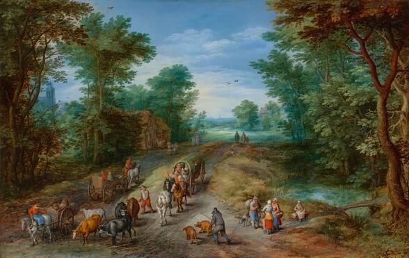 <p>Jan Brueghel the Elder, Wooded Landscape with Travelers, 1610
