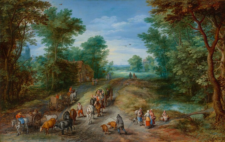Jan Brueghel the Elder, Wooded Landscape with Travelers, 16101610