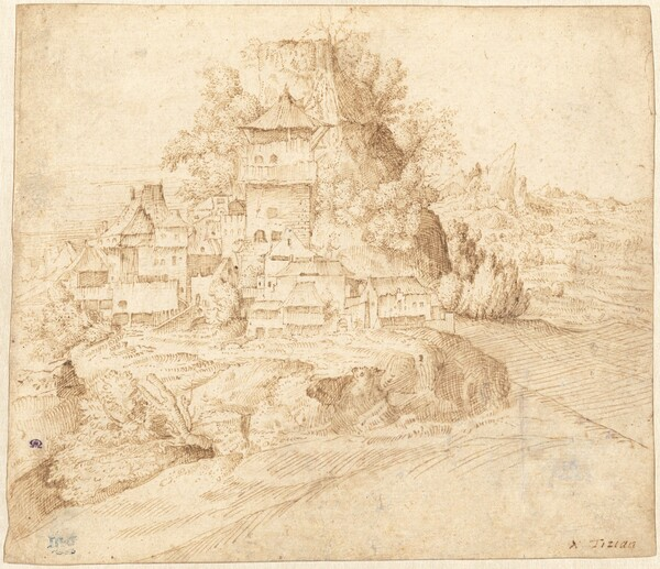 A Village Nestled at the Foot of a Hill (recto)