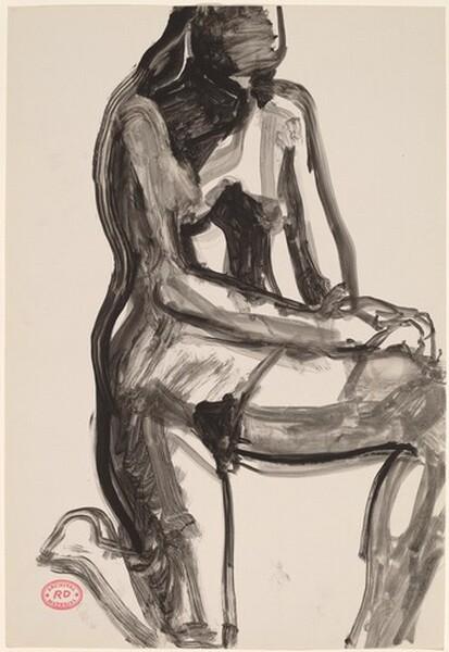 Untitled [female nude kneeling on one knee]