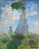 """As if situated low on a hillside, we seem to look up at a light-skinned woman and boy standing in tall grass against a sunny blue sky in this vertical painting. The woman stands at the center of the composition, and the moss green parasol she holds over her head almost brushes the top edge of the canvas. Her body faces our left but she turns her head to look at us. Her long dress is painted largely with strokes of pale blue and gray with a few touches of yellow, but we read it as being white. Her voluminous skirts swirl around her legs to our left. She holds the parasol with both hands and her brown hair is covered with a hat. Long strokes of white paint across her face suggest a veil fluttering in the breeze. The tall grass she stands in is dotted with buttercup yellow and deep mauve, and she casts a long diagonal shadow along the grass towards us. The young boy seems to stand on the other side of the hill, since the grass and flowers comes up to his waist. He wears a white jacket and pale yellow straw hat. His arms are by his sides and he seems to look off into the distance to our left. A sunny blue sky behind the figures is dotted with bright blue clouds. The painting is created with loose brushstrokes throughout, but especially choppy brushstrokes in the sky and clouds suggest wind and movement. The artist signed and dated the painting in royal blue letters at the lower right: """"Claude Monet 75."""""""