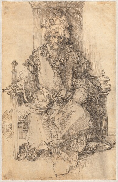 """A crowned, bearded man sits facing us on a throne, and he holds a sword and orb in this vertical drawing, which was made using black ink on parchment-colored paper. A three-peaked, jeweled crown nestles in a twisted turban on the man's head. He faces us but his eyes look to our right, and he has a long, hooked nose and flowing hair and beard. A band of ornate jewels could be a collar resting over his shoulders and on his chest, or it could be that the edge of his robe is elaborately decorated. His robe has voluminous, flowing long sleeves and his garment is decorated with bands of jewels and fringe at the shoulders, hem, and down the front. His left hand, on our right, rests on a round orb about the size of an orange and he holds the hilt of a jewel-encrusted sword upright with his other hand so the tip of the sword rests on the ground. The artist signed the work with his initials at the bottom center: """"AD."""""""