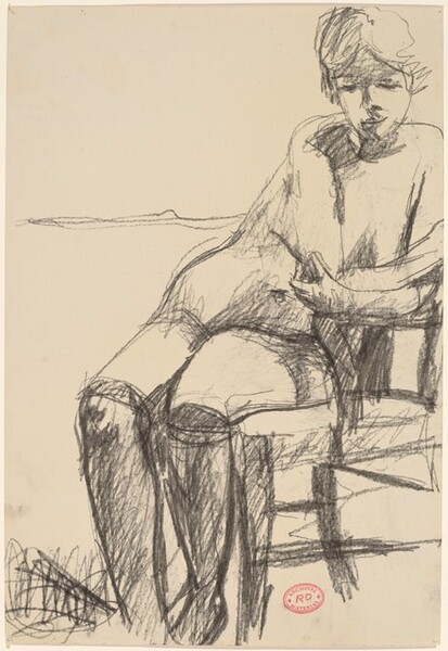 Untitled [seated female nude with black stockings]